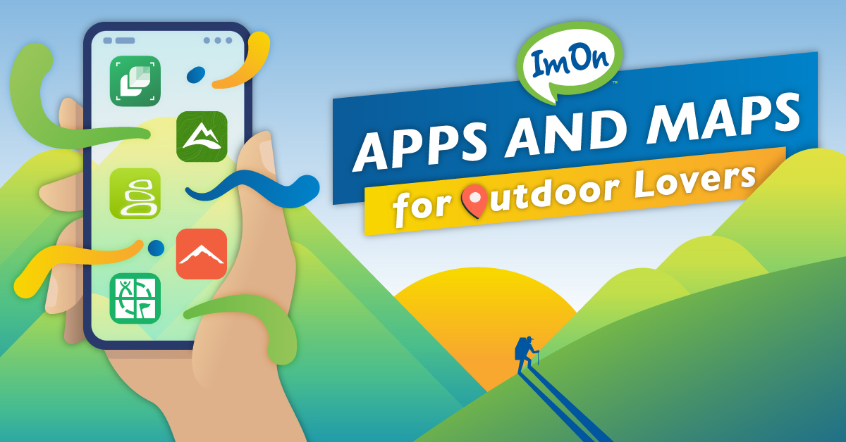 Hand holding cell phone with apps and maps for outdoors on it