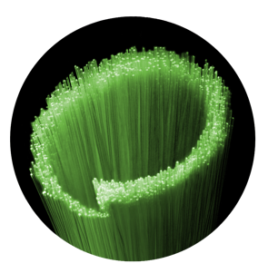 Fiber optic cables in shape of ImOn logo image