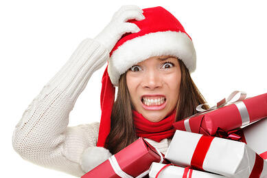 Woman Stressed with holiday shopping