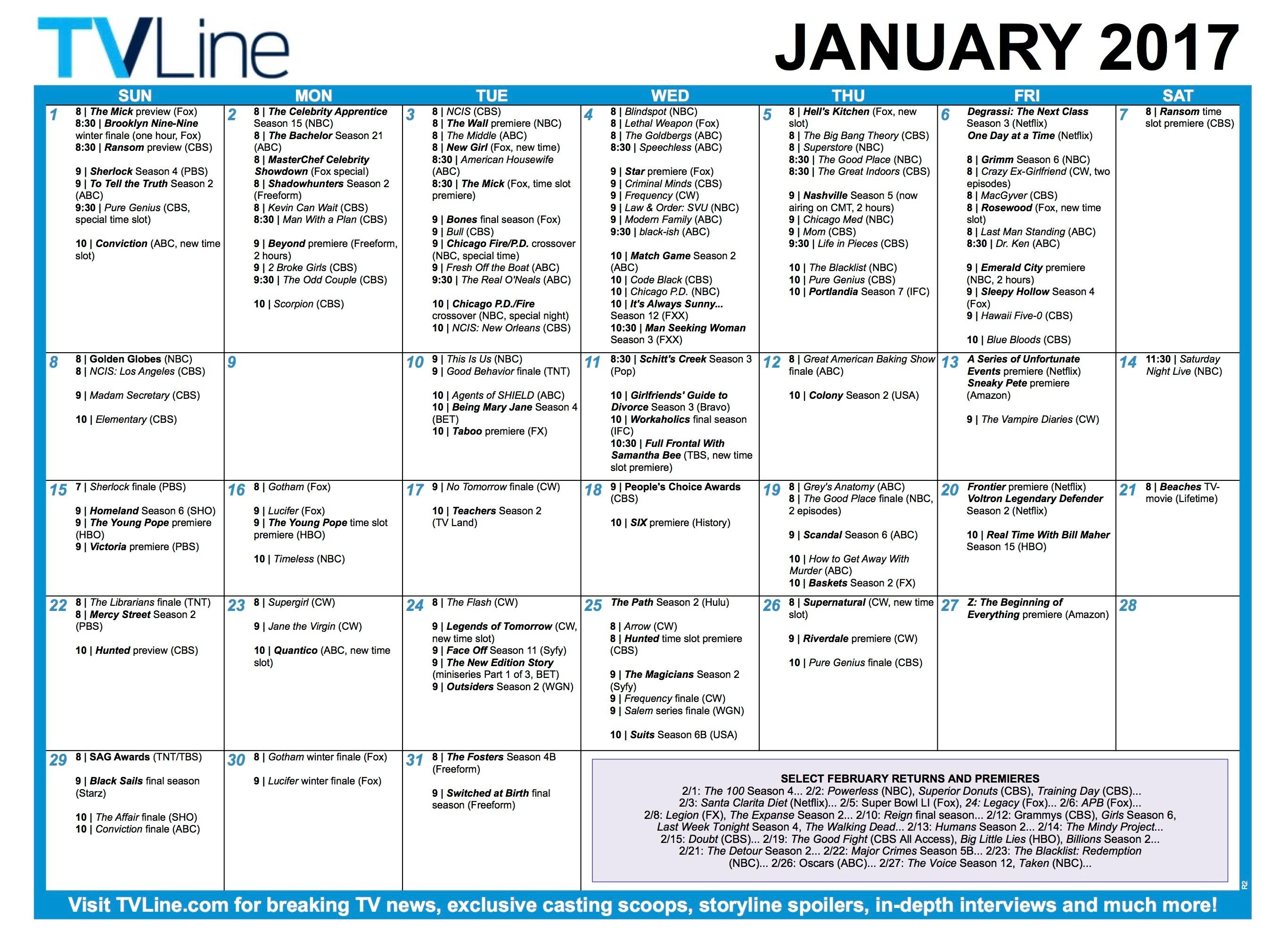TVLine.com's January TV Show premiere calendar