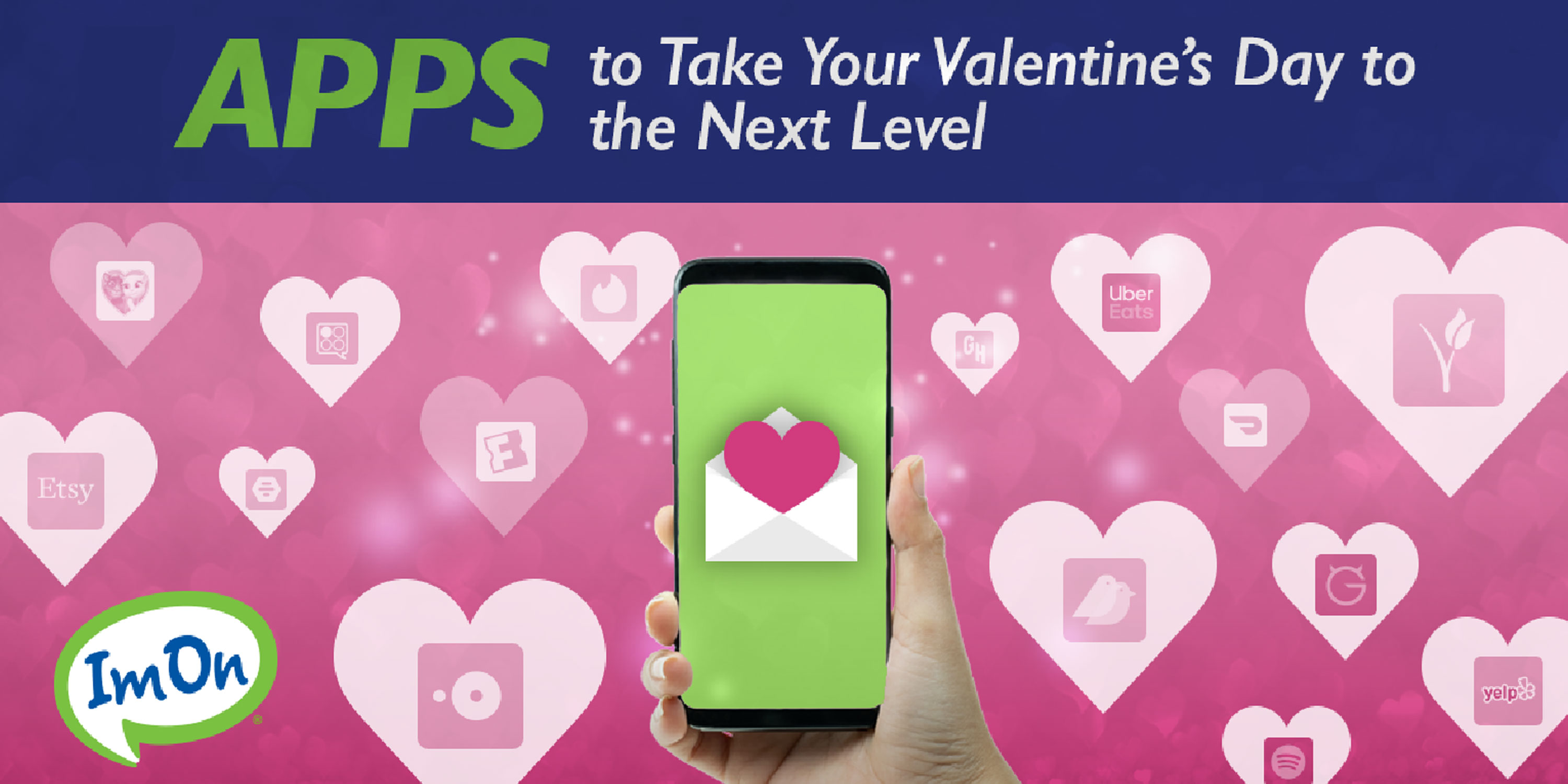 Hand holding smartphone surrounded by Apps for Valentine's Day